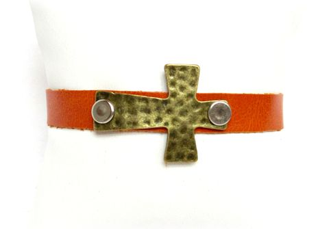 Burnt,Orange,Leather,Cuff,Bracelet,leather cuff bracelet,leather bracelet,cuff bracelet,burnt orange,cross cuff bracelet