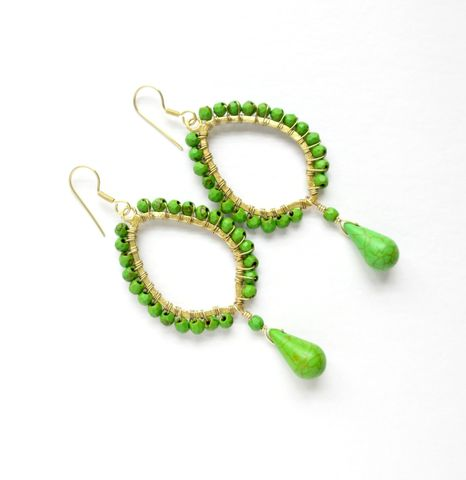 Green,and,Gold,Wire,Wrapped,Chandelier,Earrings,chandelier earrings,earrings,green earrings,wire wrapped earrings,teardrop earrings,gold earrings
