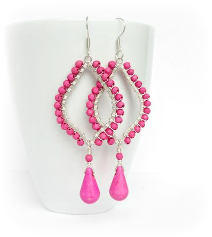 Pink,Chandelier,Earrings,,Wire,Wrapped,chandelier earrings, pink earrings,wire wrapped earrings