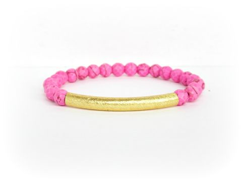 Pink,and,Gold,Beaded,Stretch,Bracelet,stretch bracelet,hot pink bracelet,hot pink,stacking bracelet,armcandy,armparty