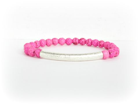 Pink,and,Silver,Beaded,Stretch,Bracelet,pink bracelet,stretch bracelet,hot pink,armparty,armcandy
