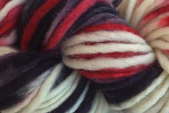 Lucky,Draw,Hand,Dyed,Wool,Pencil,Roving,Bulky Yarn Hand Dyed Red White Gray Black