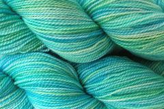 Ocean,Tide,Hand,Dyed,Fingering,Weight,Merino Wool Hand Dyed Yarn, Aqua Blue, Fingering Weight Yarn, Super Wash Yarn, eweandmeyarns.com