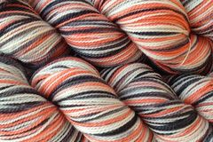 Little,Fish,Hand,Dyed,Fingering,Weight,Merino Wool Hand Dyed Yarn, Dyed Orange Gray Black White, Fingering Weight Yarn,  Super Wash Yarn, eweandmeyarns.com