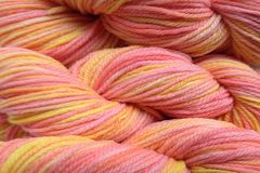 Spring,Melon,Hand,Dyed,Merino,Wool,Worsted,Weight,Hand Dyed Merino Wool Yarn Worsted Weight Orange Yellow Pink