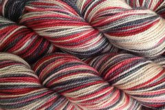 Paper,Love,Hand,Dyed,Fingering,Weight,Merino Wool Hand Dyed Yarn, Red Beige Gray Black, Fingering Weight, Super Wash Sock Yarn, eweandmeyarns