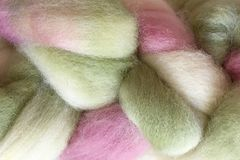 Shabby,Romance,Hand,Dyed,Wool,Roving,Wool Roving Hand Dyed Pink Green White