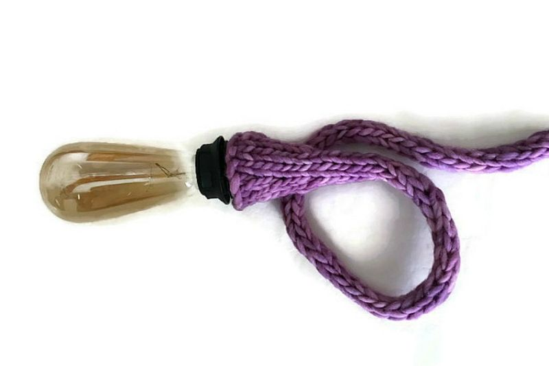 kit for lamp cord with knit covers in purple dawn ewe and me yarns. Black Bedroom Furniture Sets. Home Design Ideas