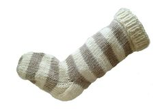 Hand,Knit,Christmas,Stocking,Natural,White,and,Beige,Striped,Santa,Sock,Hand Knit Christmas Stocking Hand Knit Natural White and Beige Striped Santa Sock eweandmeyarns