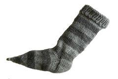 Hand,Knit,Christmas,Stocking,Pointy,Toe,with,Bell,Light,Gray,and,Striped,Santa,Sock,Hand Knit Christmas Stocking Pointy Toe with Bell Light Gray and Gray Striped Santa Sock Sock Yarn eweandmeyarns