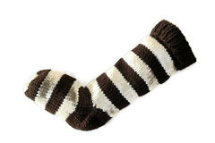 Hand,Knit,Christmas,Stocking,Brown,and,Natural,White,Striped,Santa,Sock,Hand Knit Christmas Stocking Hand Knit Natural White and Brown Striped Santa Sock eweandmeyarns