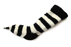 Hand,Knit,Christmas,Stocking,Pointy,Toe,with,Bell,Black,and,Natural,White,Striped,Santa,Sock,Hand Knit Christmas Stocking Pointy Toe with Bell Black and Natural White Striped Santa Sock Sock Yarn eweandmeyarns
