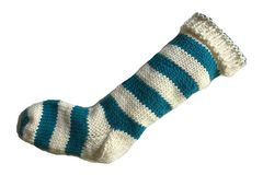 Hand,Knit,Christmas,Stocking,Natural,White,and,Aqua,Teal,Santa,Sock,Hand Knit Christmas Stocking Hand Knit Natural White and Aqua Teal Striped Santa Sock eweandmeyarns
