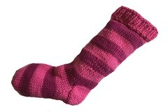Hand,Knit,Christmas,Stocking,Pink,and,Dark,Striped,Santa,Sock,Hand Knit Christmas Stocking Hand Knit Pink and Dark Pink Striped Santa Sock eweandmeyarns
