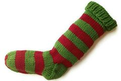 Hand,Knit,Christmas,Stocking,Green,and,Red,Striped,Santa,Sock,Hand Knit Christmas Stocking Hand Knit Red and Green Striped Santa Sock eweandmeyarns.com