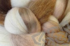 Rootbeer,Float,Hand,Dyed,Wool,Roving,Wool Roving, Hand Dyed, Needle Felting Roving, Brown Natural White Tan, eweandmeyarns.com