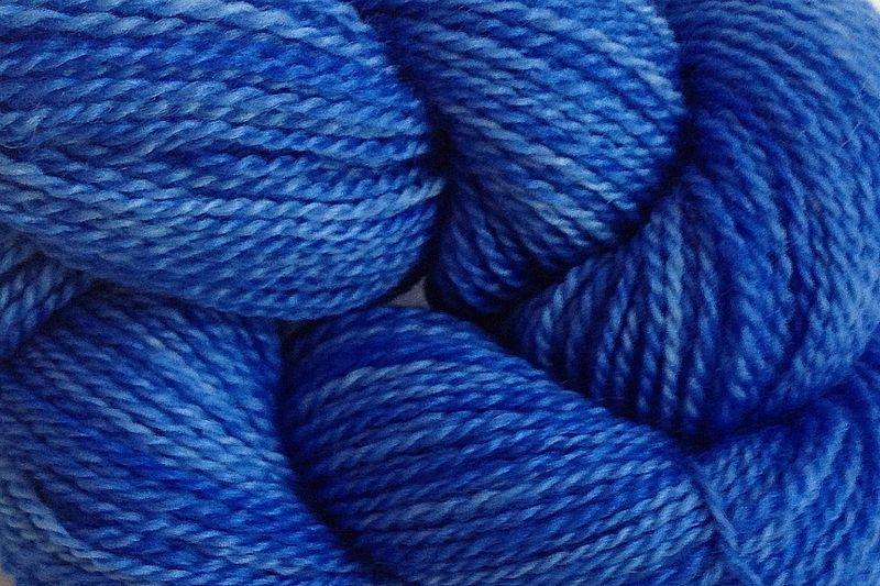 Cowboy Blue Hand Dyed Merino Wool Yarn Lace Weight - product images  of