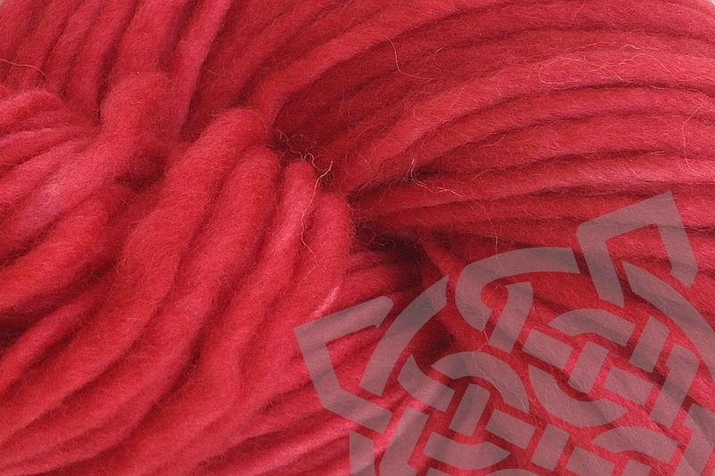 Strawberry Red Hand Dyed Wool Single Ply Yarn Bulky - product images  of
