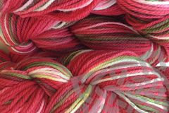 Strawberry,Fields,Hand,Dyed,Merino,Wool,Yarn,Worsted,Weight,Hand Dyed, Merino Wool Yarn, Worsted Weight, Red Green White, Strawberry Fields, Primary Red, Variegated Yarn, Hilo, eweandmeyarns.com