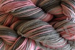 Girlie,Girl,Hand,Dyed,Merino,Wool,Worsted,Weight,Yarn,Hand Dyed, Merino Wool Yarn, Worsted Weight, Pink, Gray, Pale Pink, Pink Gray, Knitting Yarn, eweandmeyarns.com
