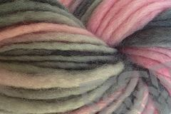 Girlie,Girl,Hand,Dyed,Wool,Yarn,Single,Ply,#5 Bulky Yarn, Hand Dyed, Quick Knit Yarn, Pink Gray, Girlie Girl, Pencil Roving, Single Ply Yarn, eweandmeyarns.com