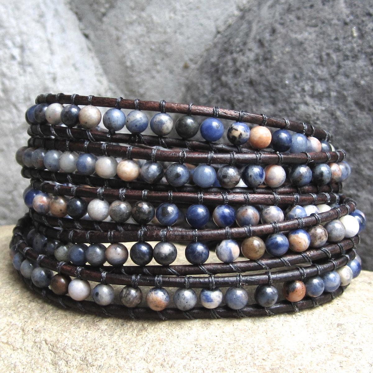 B> Earthy Neutral Blue Brown Gemstone Beaded Leather  Wrap Bracelet  Town Of Beadrock