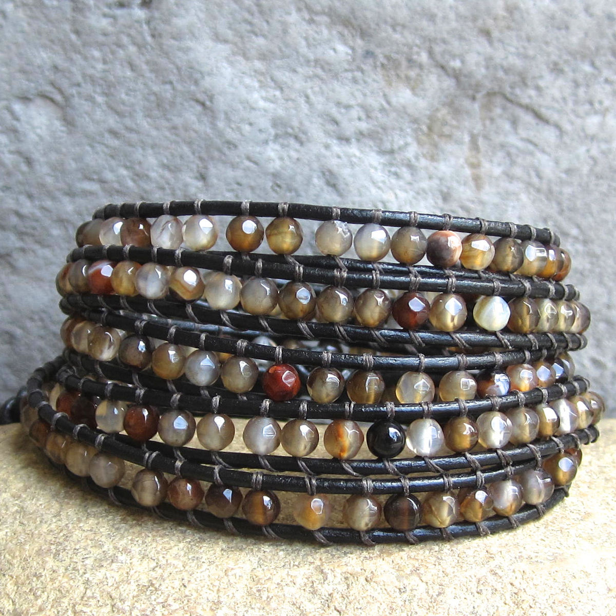 I> Earthy Gemstone Beaded Leather Wrap Bracelet  With Neutral Mixed Brown Beads  Town Of Beadrock