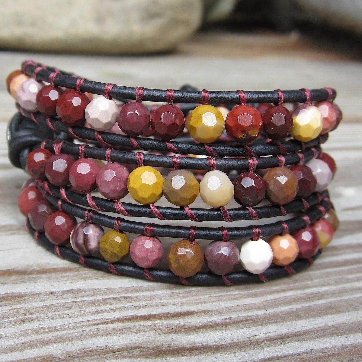 B> Earthy Gold Maroon Pink Gemstone Beaded Leather 3wrap  Bracelet  Town Of Beadrock