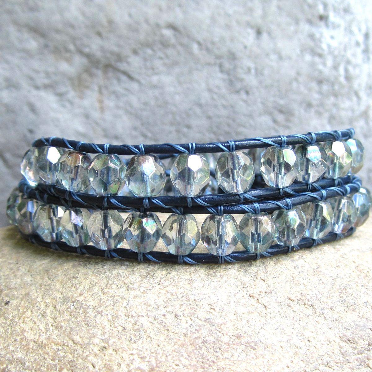 B> Sparkly Glass Beaded Navy Blue Leather 2wrap Bracelet   Town Of Beadrock