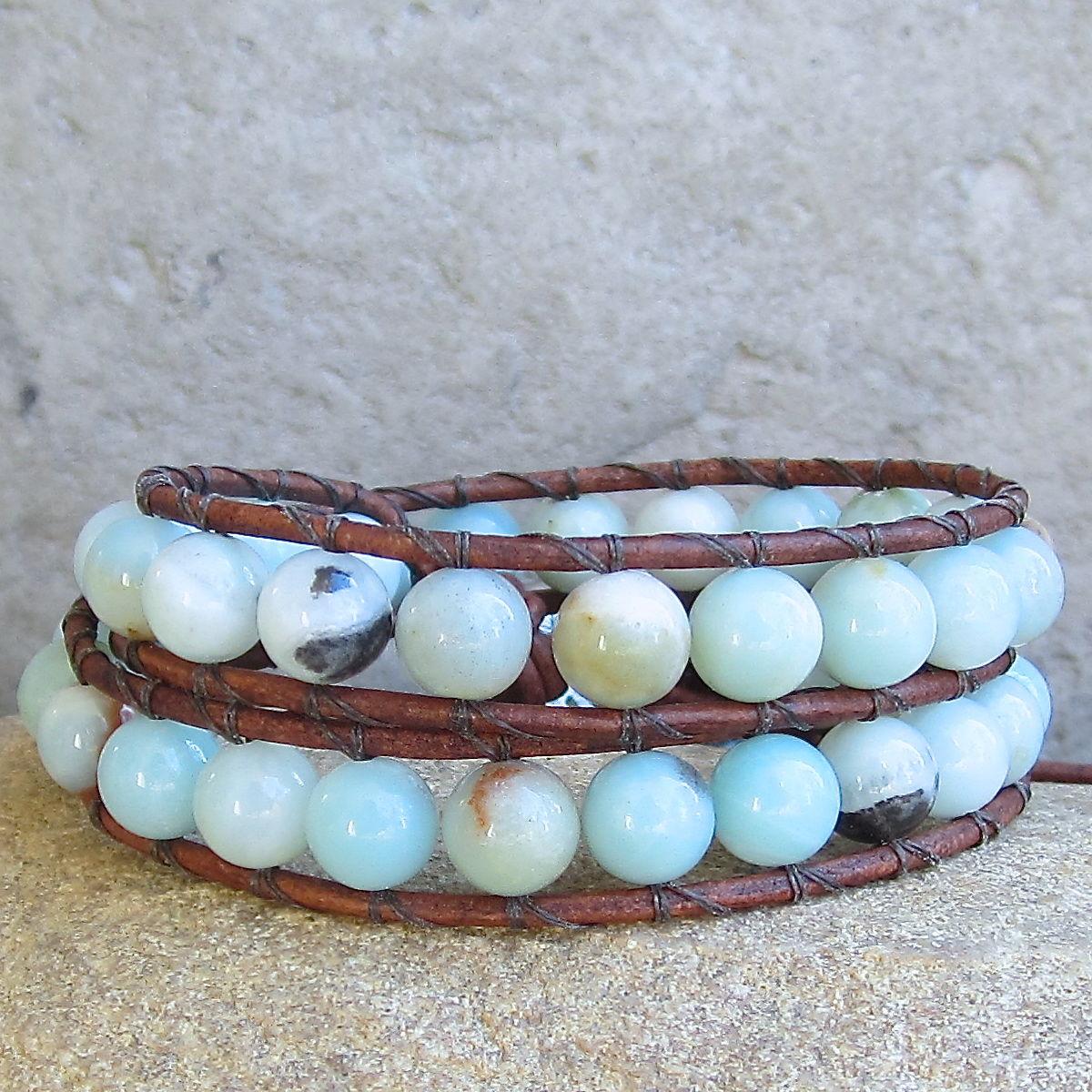 B> Earthy Blue Amazonite Gemstone Big Beaded Leather 2wrap  Bracelet  Town Of Beadrock