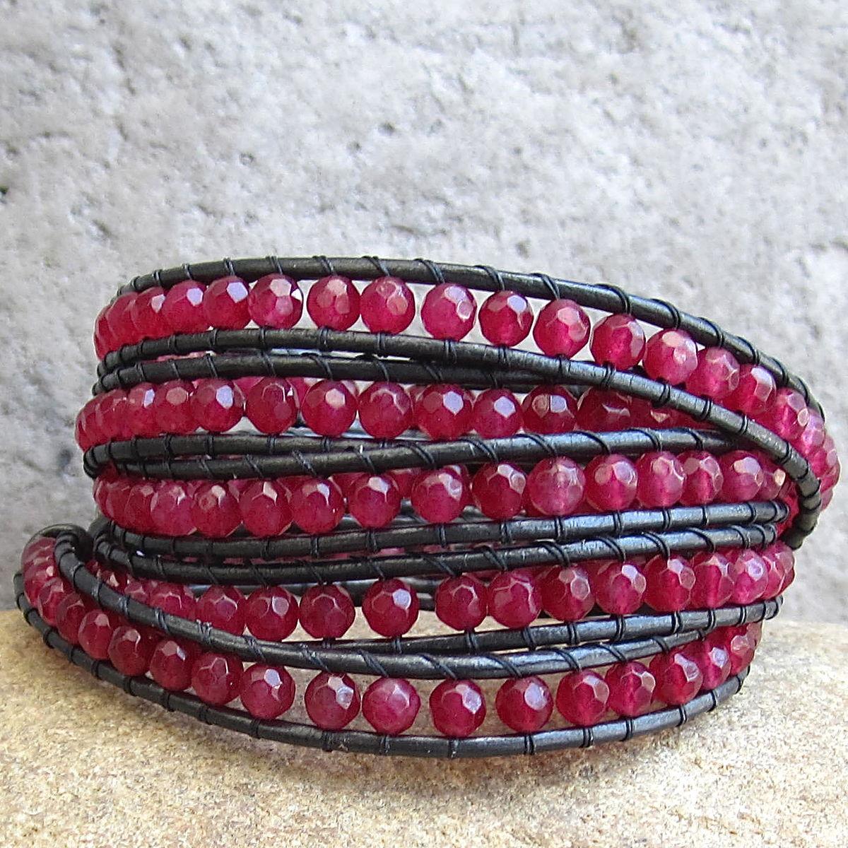 B> Raspberry Red Gemstone Beaded Leather Wrap Bracelet   Town Of Beadrock