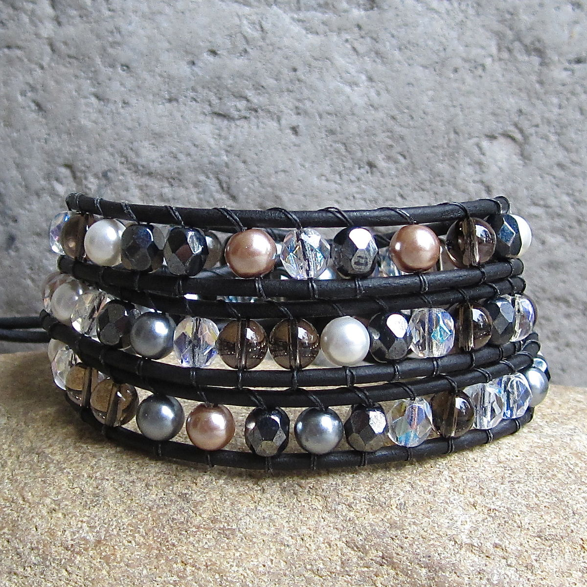 B> Neutral Sparkly Mixed Bead Black Leather 3wrap Bracelet   Town Of Beadrock