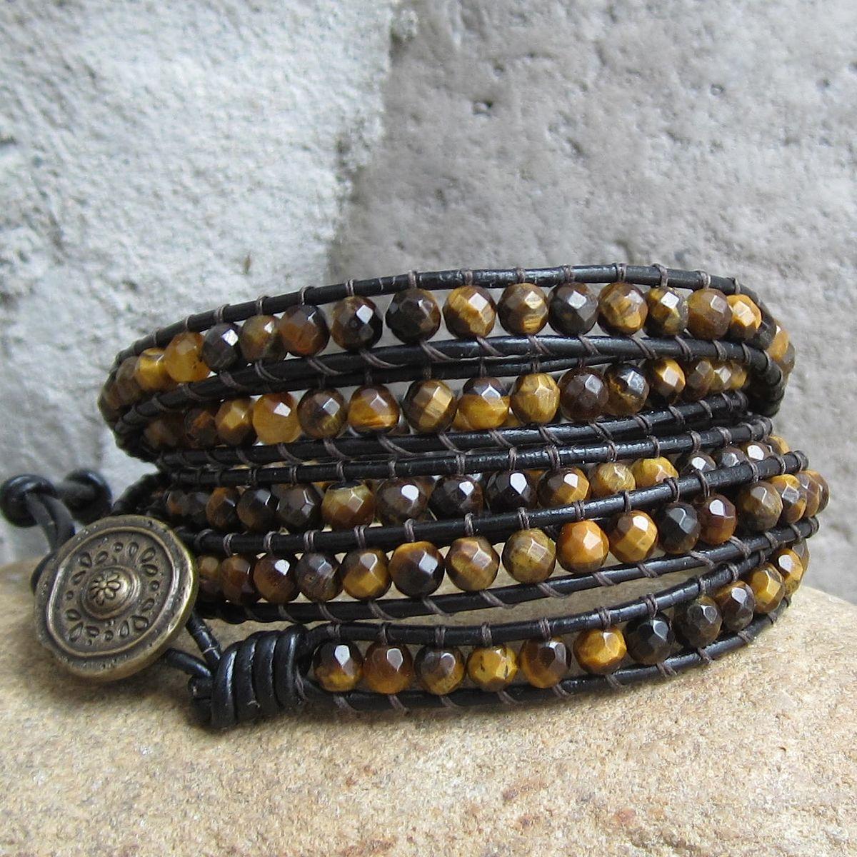 Tigerseye Gemstone Beaded Leather 5wrap Bracelet