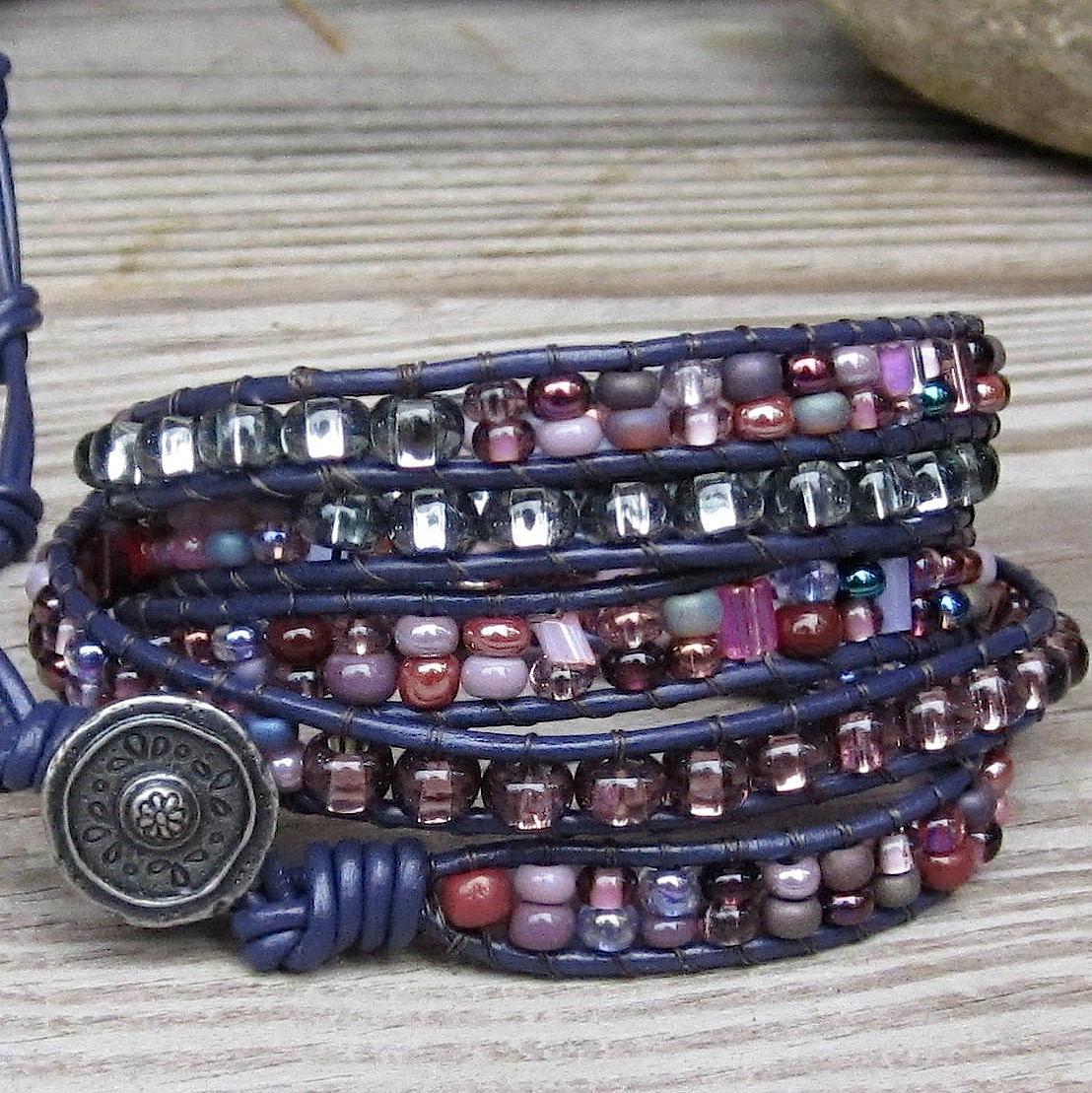 Violet Dream  Purple Bead Mix Leather 5wrap Bracelet