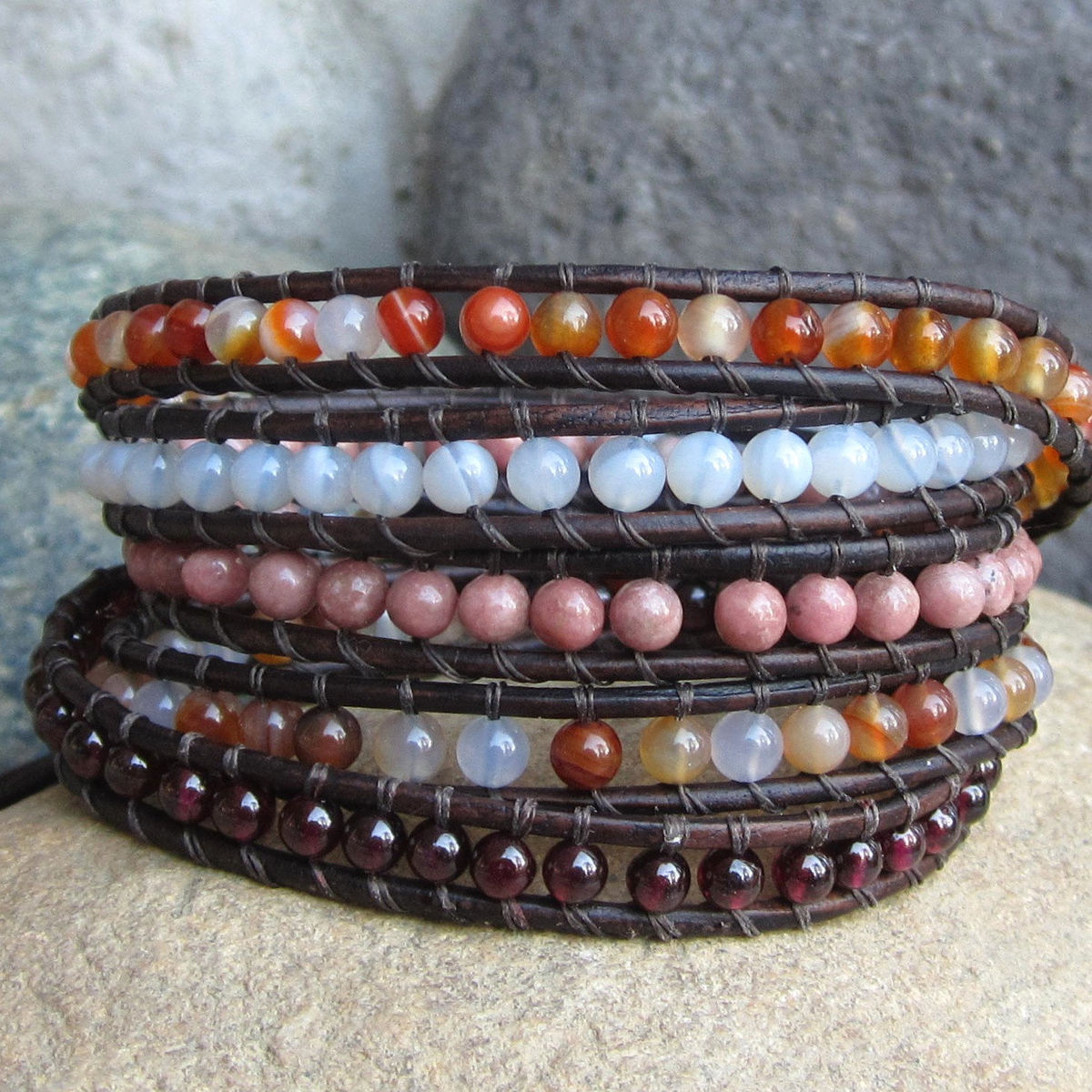 B> Pink Orange Brown Gemstone Beaded Multirow 5wrap Leather  Bracelet  Town Of Beadrock