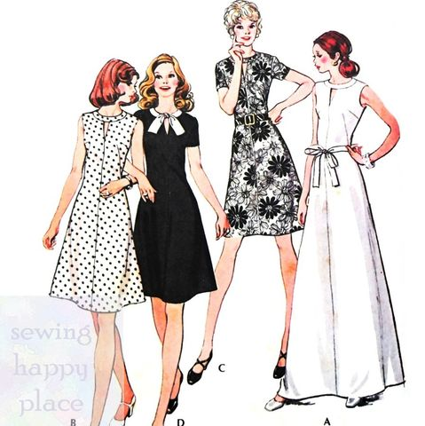 Fit,Flare,ALine,Dress,w,Notch,Neckline,1970s,Pattern.,Mini,or,Evening.,McCalls 3608, day length, evening gown, sewinghappyplace