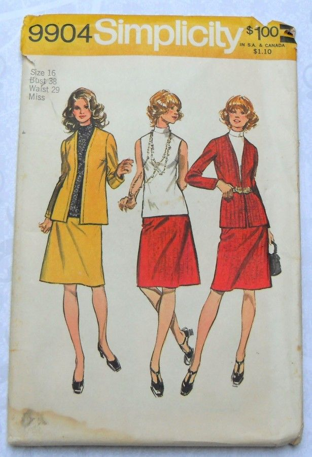 3 Pc Wardrobe 1970s Pattern for Knits. Cardigan Jacket, Top, Skirt. Office Wear. - product images  of