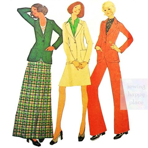 Classic,Separates,1970s,Pattern.,Blazer.,Wide,Leg,Trousers.,Aline,Skirt.,McCalls 3792, travel, weekender, wardrobe, office, casual, sewinghappyplace