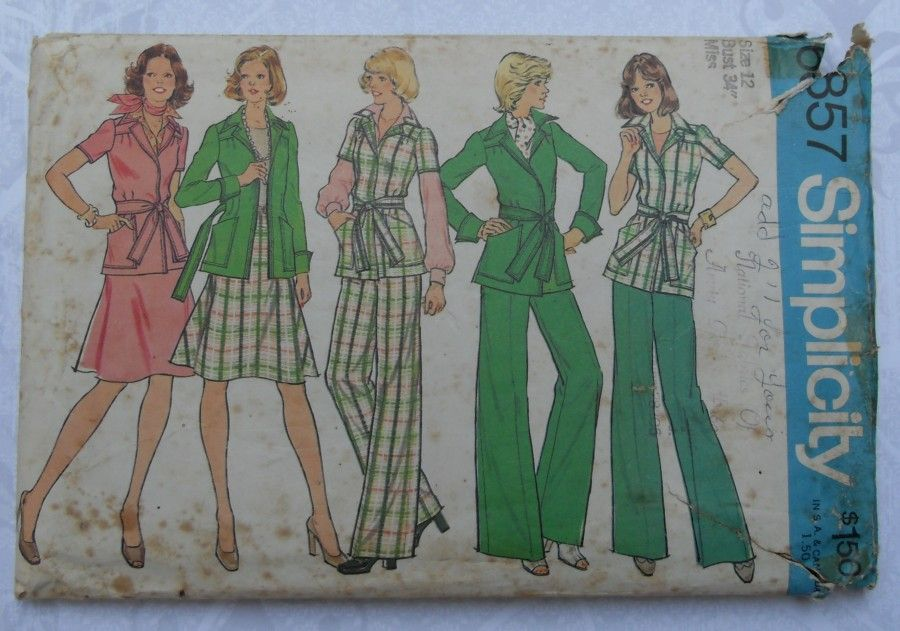 Travel Separates 1970s Pattern. Jacket, Flare Skirt, Wide Leg Pants. - product images  of