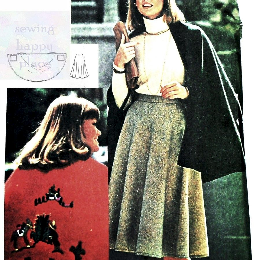 Circular Cape and Skirt 1970s Pattern. Embroidery Transfers. Twirly Skirt. - product images  of