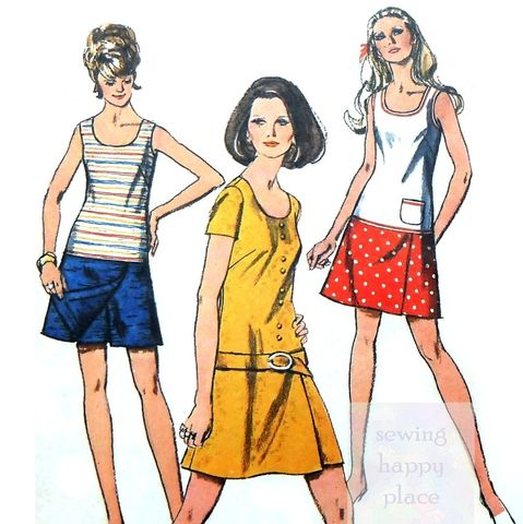 Authentic,Culottes,Dress,1970s,Pattern.,Mini,Pantsdress.,Scooterdress.,Simplicity 8833, vintage sewing patterns, sewinghappyplace
