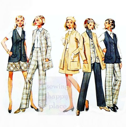 Butterick,5354.,Suit,Wardrobe,1960s,Pattern.,Cardigan,Jacket.,Vest,,Skirt,,Pants.
