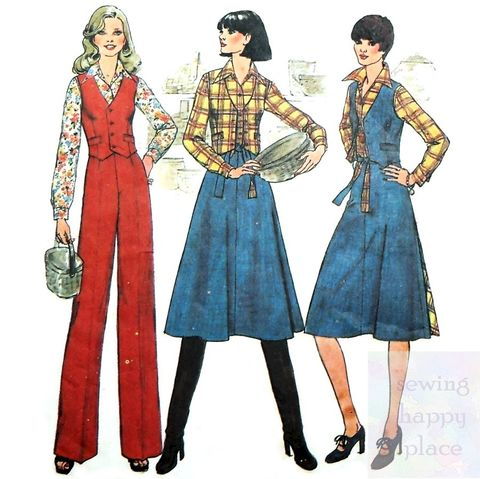 Flared,Wrap,Skirt,1970s,Pattern.,Reversible,Vest.,Pants.,Separates,Wardrobe.,Simplicity 7675, trousers, reversible wrap skirt, western style, sewinghappyplace