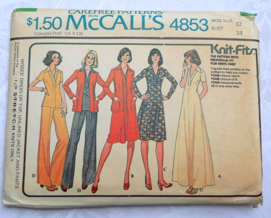 Separates for Knits 1970s Pattern. Pants Jacket Pullover Top Dress. Casual.  - product images  of