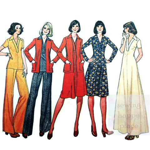Separates,for,Knits,1970s,Pattern.,Pants,Jacket,Pullover,Top,Dress.,Casual.,McCalls 4853, travel separates, office wear, sewinghappyplace