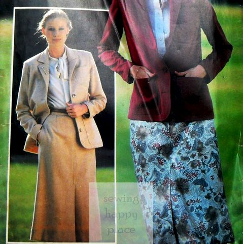 Jacket,and,Skirt,1970s,Pattern.,See,Sew.,Simplified,Construction.,Butterick 6401, sewinghappyplace, vintage 70s separates