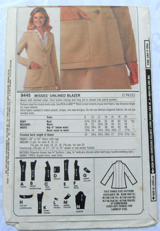 Princess Line Jacket 1970s Pattern. For Stretch Knits. Notched Collar. - product images  of