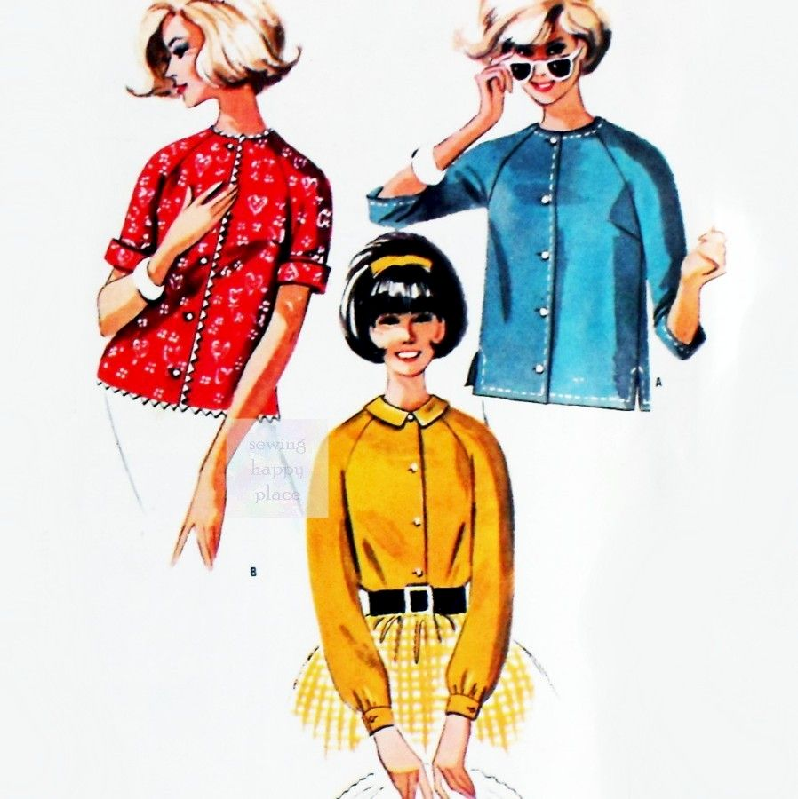 Sweet Preppy Blouse Collection 1960s Pattern. Button Front Raglan Sleeves. - product images  of