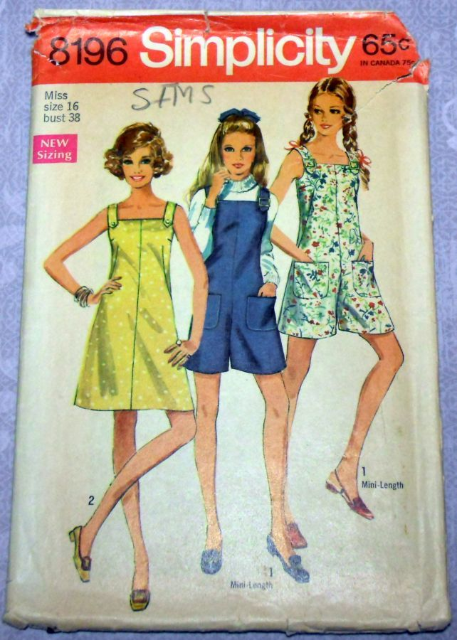 Mini Pantdress or Culottes Jumper 1960s Pattern. Square Neckline. Pantjumper. - product images  of