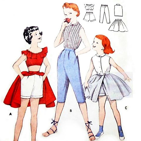 Girls,Play,Separates,1960s,Pattern.,Preppy,Blouse,Shorts,Pedal,Pushers,Skirt.,Butterick 7370, girls 50s patterns, sewinghappyplace